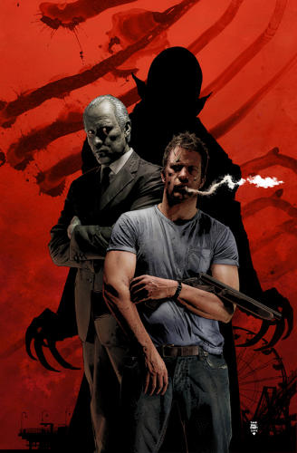 <p>Tim Bradstreet used Thomas Jane as a model for this cover of <em>Criminal Macabre</em>, a then-Dark Horse series created by Steve Niles.</p>