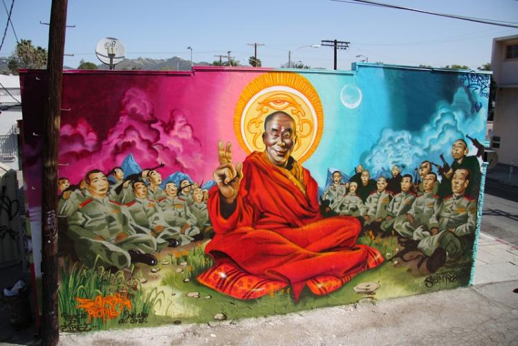 <p><strong>Mear One</strong> is a contemporary artist in Los Angeles who started his career in graffiti during the 1980s. This mural, <em>Dalai Lama</em>, is at the intersection of Spaulding and Melrose avenues in Los Angeles.</p>