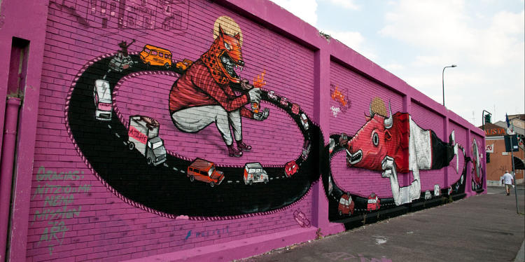 <p>The Mexico City-based <strong>Saner</strong> is inspired by Mexican custom, folklore, mysticism, masks, and Day of the Dead. This mural is in Turin, Italy.</p>