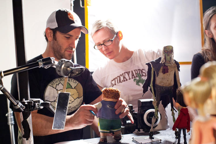 <p>Animation Supervisor Brad Schiff and Creative Supervisor of Puppet Fabrication Georgina Hayns study the Neil puppet.</p>