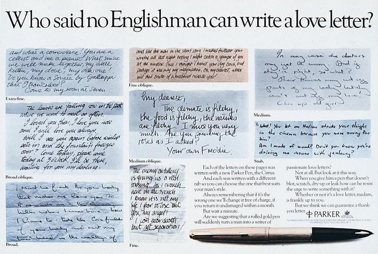 <p>Copywriter Andy Brignull's 1977 &quot;Love Letter&quot; for Parker Pens.</p>