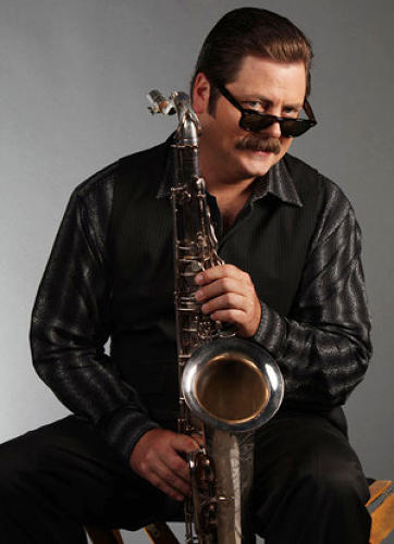 <p>Ron Swanson's alter ego is jazz musician Duke Silver. Nick Offerman grew up playing tenor sax.</p>