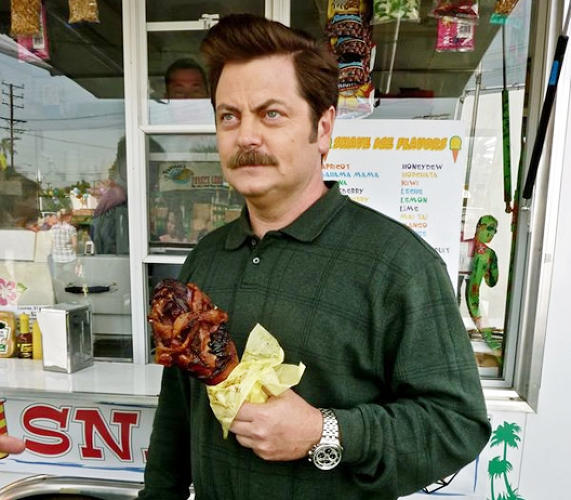 <p>Ron Swanson has an endless appetite for meat; so does Nick Offerman.</p>