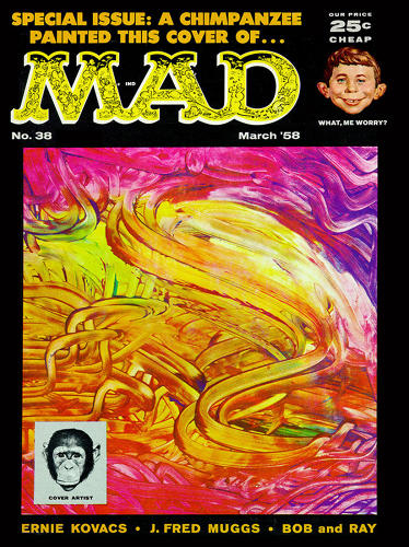 "<p>March, 1958 – Behold the finger painting by J. Fred Muggs, the chimpanzee mascot for NBC's <em>Today Show</em> from 1953-57, and <em>Mad's</em> first celebrity cover artist. ""Arguably still our greatest artist,"" says <em>Mad</em> editor John Ficarra. Muggs' relationship with the magazine took a dive when he bit then-editor Al Feldstein.</p>"