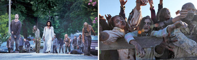 "<p>Zombies went from more individual looks and color to more monochromatic as the survivors learned that they travel in herds, and stopped relating to them as former humans. ""They're of one mind and in increasing degrees of dead,"" says Womble. ""They went from reds and blues in season one, to grays and blues in season two, to yellows in season three.""</p>"