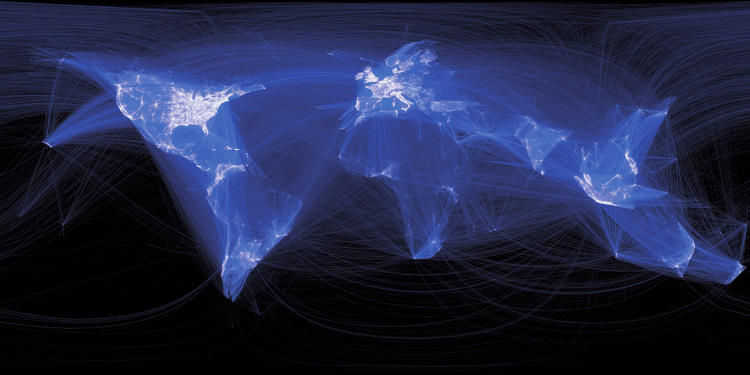 <p>A visualization showing cities linked by numerous Facebook friendships. Within minutes of rendering, the image that appeared on his screen was a surprisingly detailed map of the world--with lines that represented not coasts or borders, but real human relationships.</p>