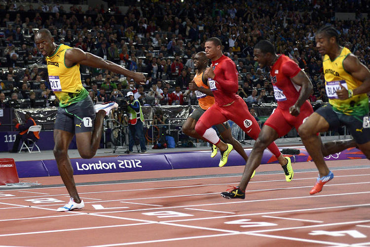 <p>Jamaica's Usain Bolt dominates the men's 100m final as per usual at the athletics event during the London 2012 Olympics on August 5, 2012.</p>