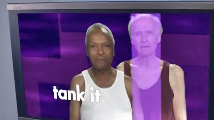 <p>Aired: Season 7 Episode 1</p>  <p>Also from the first episode of the final season, the point of <em>Tank It </em> is for grandpas to put on tank tops so the studio audience can laugh at them.</p>