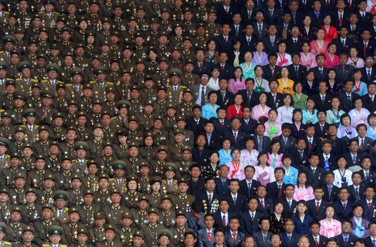 <p>The celebration of the 100th anniversary of the birth of North Korea founder Kim Il Sung in Pyongyang is multihued on one side only.</p>