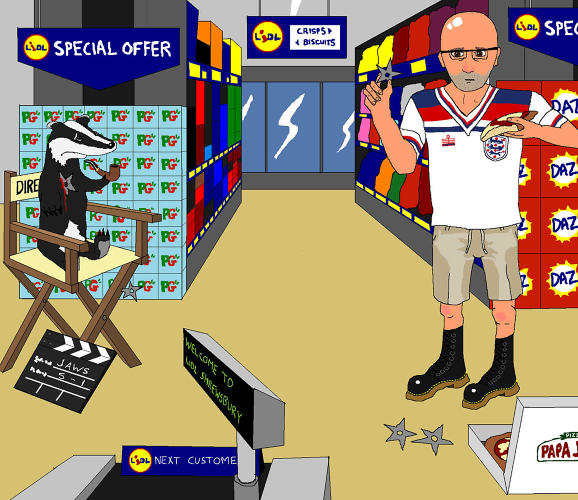 <p>Please paint me Moby throwing ninja stars at a melancholic badger whilst eating a Papa John's Pizza in Lidl in Shrewsbury. Moby is wearing an Admiral England shirt, Bermuda shorts and 18-hole DMs. The badger is sat in Spielberg's directors chair and smoking a pipe.</p>