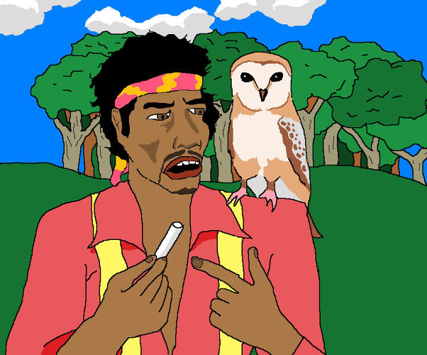 <p>Please paint me Jimi Hendrix explaining to an owl on his shoulder what a stick of chalk is, near a forest.</p>