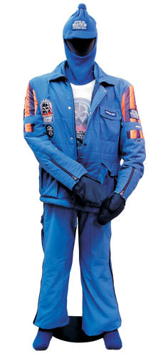 <p>Hoth was an inhospitable planet for the Rebel Base in <em>The Empire Strikes Back</em>. So was the actual location: Finse, Norway, where the film crew encountered a late-season blizzard. This is the frigid-climate clothing given to the crew—in this case, Geoff Glover, the unit director of photography.</p>