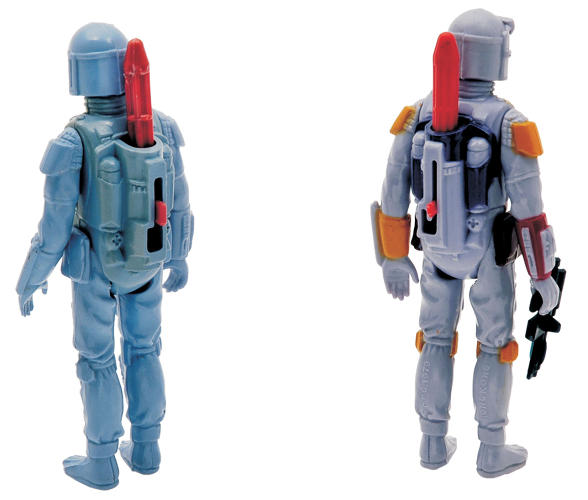 "<p>Fans were disappointed in 1979 when the mail brought them a figure of a new bounty hunter who would be appearing in Empire; it was supposed to fire a missile from its backpack. But because of product-safety issues, the missile had to be sonic-welded into the toy. These are the two main prototype ""test"" versions of the never released missile-firing Boba Fett.</p>"