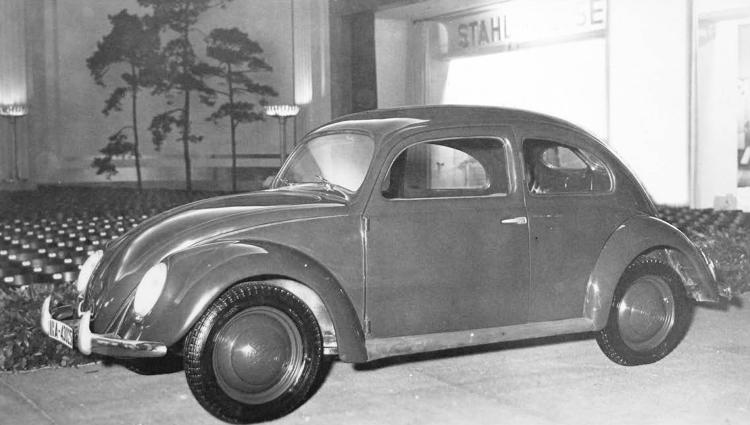 "<p>The ""strength-through-Joy car"" on display in Berlin in 1939. Developed by Ferdinand Porsche with support from the Nazi regime, this automobile incorporated most of the features that were to make the Volkswagen a commercial success after World War II.</p>"