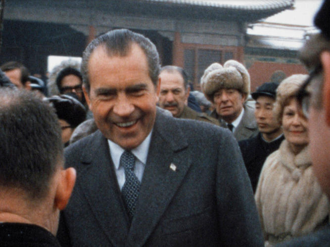 "<p>President and Mrs. Nixon mingle with the locals in China while the American press looks on. Nixon dubbed this trip ""the week that changed the world."" February 1972.</p>"