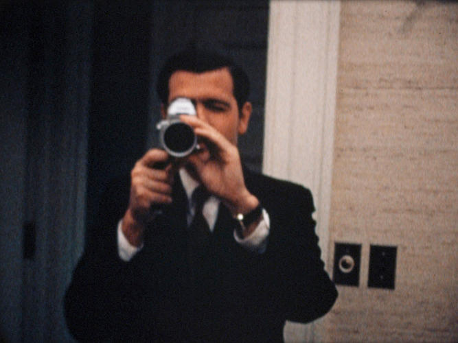 <p>Special Assistant Dwight Chapin films Haldeman filming him at the White House on the night of the Apollo 11 moon landing. July 20, 1969.</p>