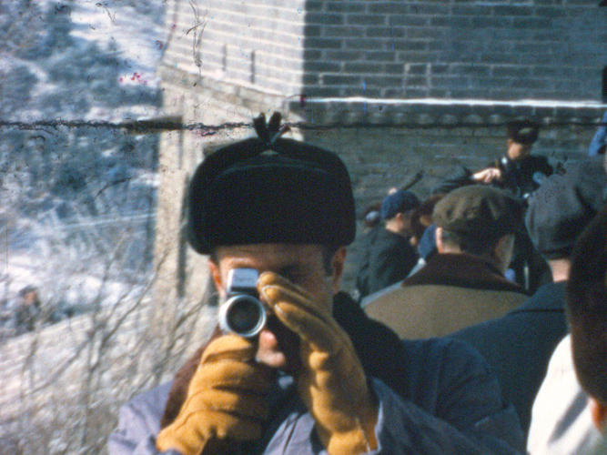 "<p>Chief of Staff H.R. ""Bob"" Haldeman, one of the amateur filmmakers whose Super 8 footage is showcased in <em>Our Nixon,</em> films his assistant filming him at the Great Wall of China. February 1972.</p>"