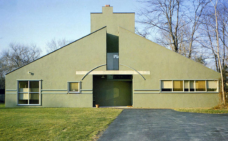 "<p>Robert Venturi defied an age of austere glass boxes to design this home, regarded as the first ""postmodern"" building, which looked like a child's drawing of a house.</p>"