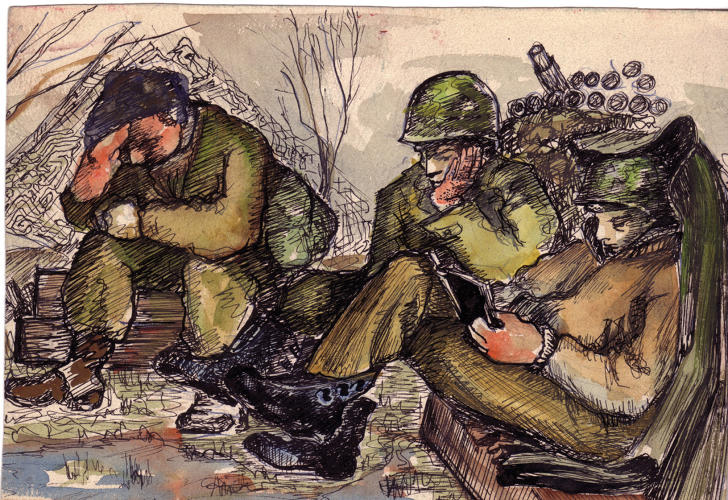 <p>A painting by John Jarvie that captures the exhaustion of his comrades. Many of the Ghost Army soldiers were artists who used stolen moments of spare time to paint and sketch.</p>
