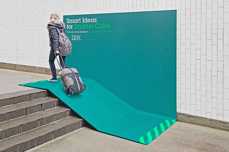 <p>IBM Ramp<br /> Agency: Ogilvy France</p>  <p><a href=&quot;http://www.fastcocreate.com/1683133/ibm-turns-its-ads-into-useful-urban-furniture&quot;>http://www.fastcocreate.com/1683133/ibm-turns-its-ads-into-useful-urban-furniture</a></p>