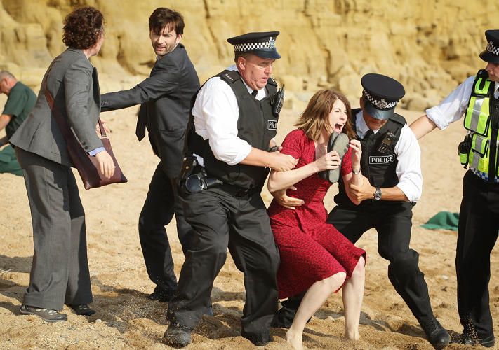 <p>DS Ellie Miller, DI Alec Hardy, and Beth Latimer (Jodie Whittaker) visit the scene of the crime.</p>