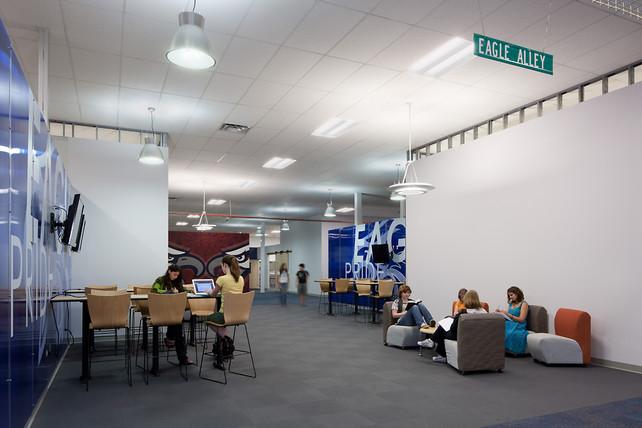 Inside Collaborative Classroom ~ In a tornado ravaged town high school inside big box