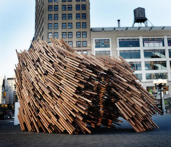<p>This sukkah, designed by Dale Suttle, So Sugita and Ginna Nguyen of New York, looks like a bunch of pick-up sticks taking off for winter migration, right?</p>