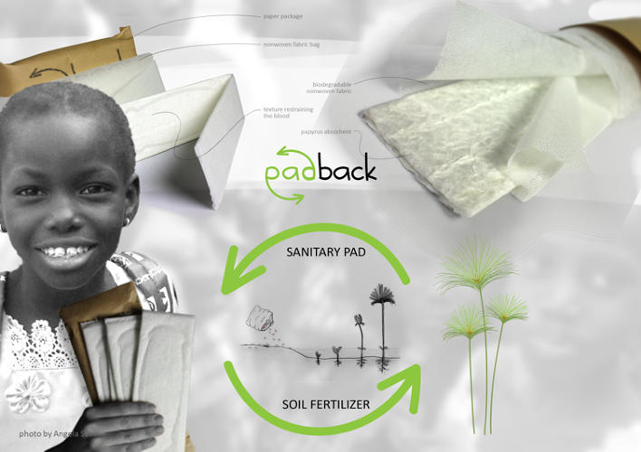 <p>Also by Akarsu, padBACK is a cheap biodegradable maxi pad designed for girls in Africa. Made out of papyrus, it can be produced cheaply, then recycled and used as fertilizer. In Akarsu's telling, inadequate access to sanitary products is a major reason why girls miss school.</p>