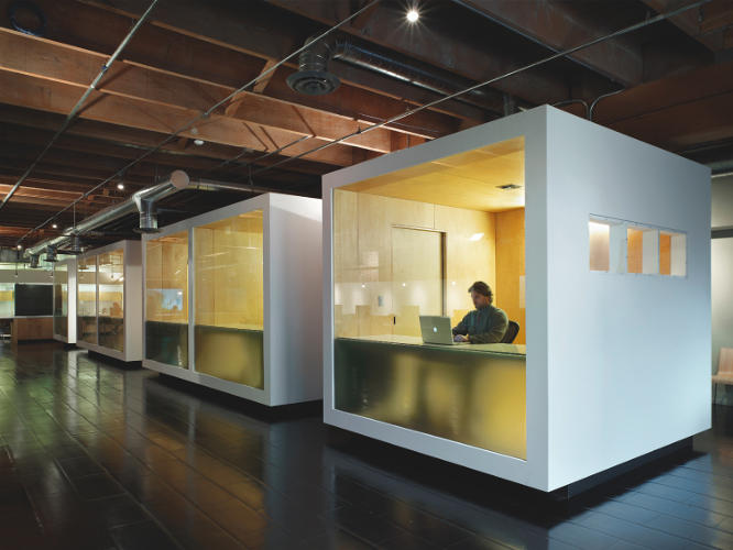<p>Another benefit of glazing: It keeps private offices from feeling like prison cells. Cubes here designed by Chadbourne + Doss Architects</p>
