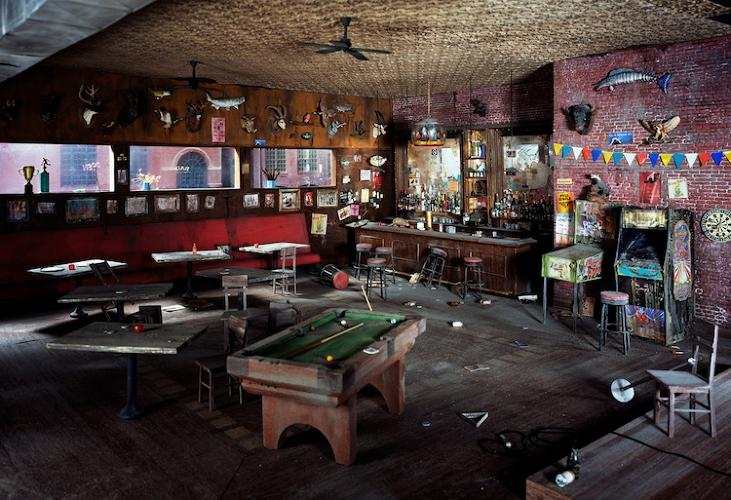 <p>Lori Nix says her photos are &quot;saturated with color and infused with a dark sense of humor.&quot; This scene certainly gives new meaning to the phrase &quot;dive bar.&quot;</p>