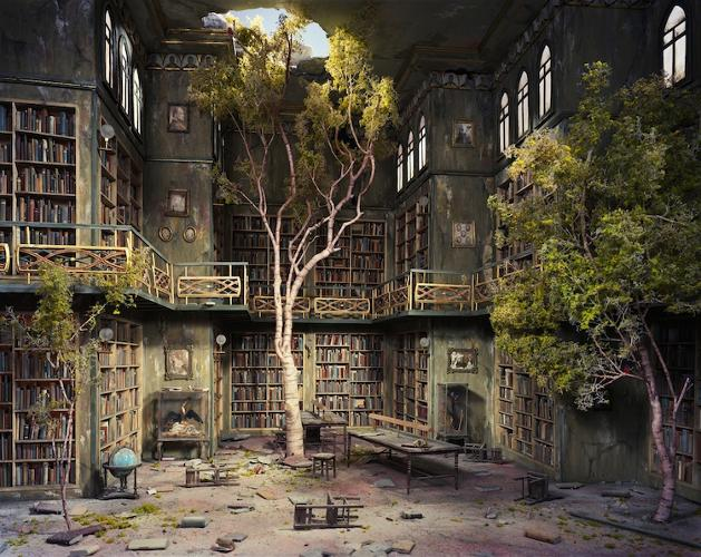 <p>Nix's crumbling library evokes the desolation of the classic post-apocalyptic Twilight Zone episode, &quot;Time Enough At Last.&quot;</p>