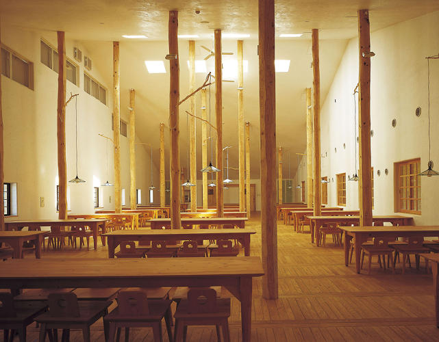 <p>A new monograph (and concurrent exhibition) celebrates and explores the work of Japanese architect Terunobu Fujimori. Here, a view of tree trunk columns dotting the interior of a student dormitory for the Kumamoto Agricultural School College, a Fujimori project from 2000.</p>