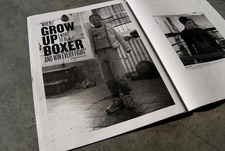 <p>Graphic design graduate students Mark Alcasabas and Virginia Sasser designed promotional materials to attract funding for UMAR, an after-school boxing program in West Baltimore.</p>