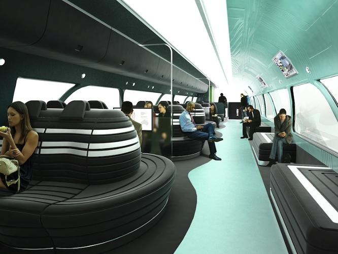 <p>The concept includes an airy dining car that's more like a sci-fi cafe than a cramped diner.</p>