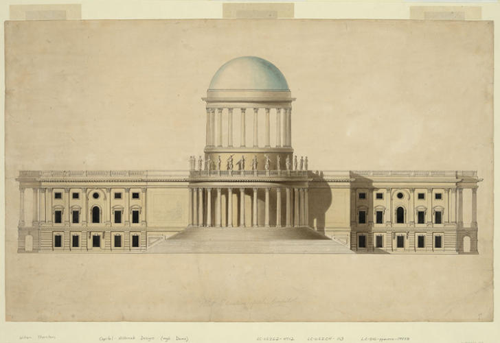 <p>Architect William Thornton won the design competition for the U.S. Capitol (the sketch shown here dates to 1797) but other architects later modified his concept.</p>