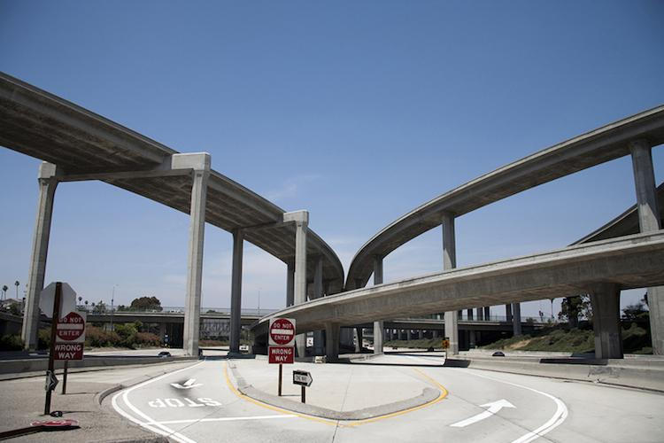 <p>The massive intersection of the 105 and 110 freeways in South L.A.</p>