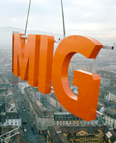 <p>Signage for Migros, Switzerland's biggest supermarket chain, by Bruno Maag (2005).</p>