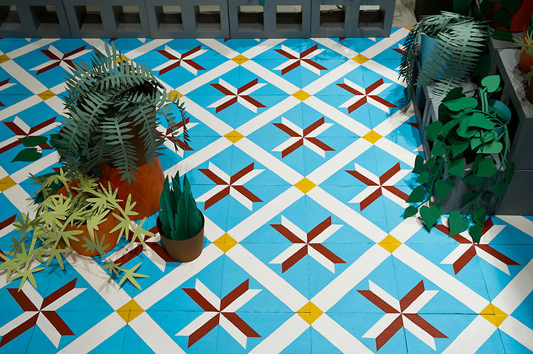 <p>A Spanish &quot;tile&quot; floor in a house was painted and assembled much like a real tile floor.</p>
