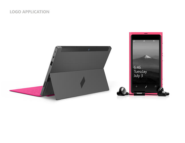 <p>Stamped on a Surface tablet and Windows phone, the slate is a less &quot;busy&quot; visual identity.</p>