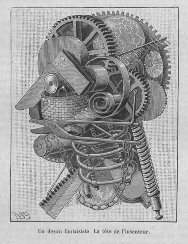 <p>An illustration from the 1890 volume of La Nature depicts a familiar metaphor: the mind as a machine.</p>