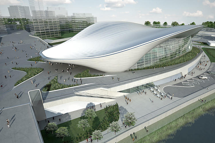 <p>Zaha Hadid's jaw-dropping flying saucer of an aquatics center will host swimming and diving events at the London Olympics later this year.</p>