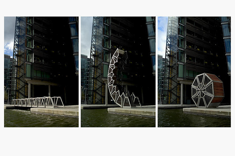 <p>This whimsical pedestrian bridge in London uses a series of hydraulic rams integrated into its balustrade to roll up into a little ball midday every Friday. It's lots of fun to watch (as long as you're not watching from the bridge itself).</p>