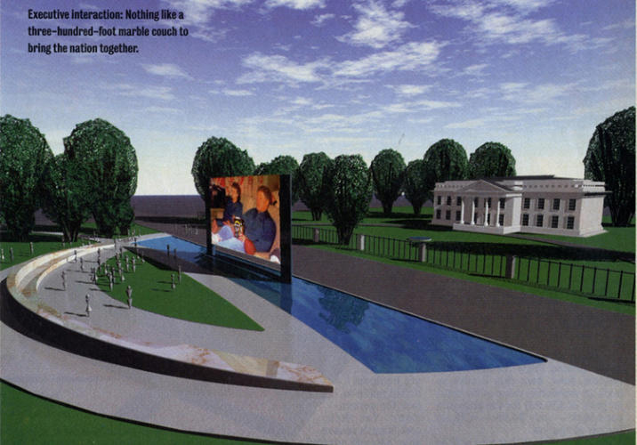 <p>Michels and Allegro also wanted to build a giant &quot;National Sofa&quot; across the street from the White House in 1996. In the aftermath of the Oklahoma City bombing, they feared that the closure of Pennsylvania Avenue would isolate the Oval Office from the masses, so they devised a 300-foot-long couch to address that gap. Yep, it's got a giant TV screen, too.</p>