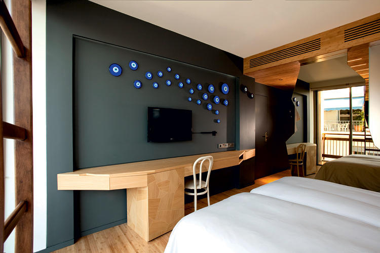 <p>In a nod to Greek culture, some of the rooms are decorated with the evil eye.</p>