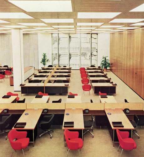 <p>Knoll produced some of the most iconic midcentury furniture pieces. Seen here: the Model 1500 Series desk, designed by Florence Knoll in 1956, and the Model 70 chair, designed by Eero Saarinen in 1950.</p>