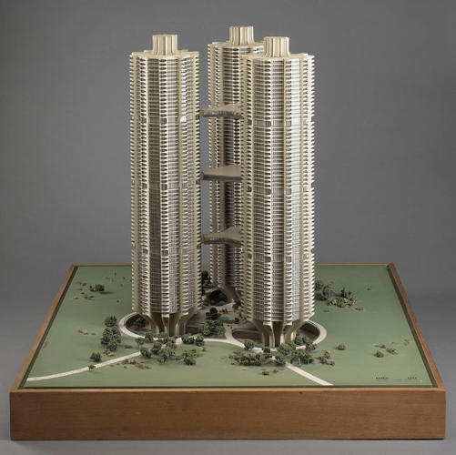 <p>A model of River City, a curving mega-structure designed for Chicago. Though never built, the project highlighted many of Goldberg's pet themes: the need for density, commercial activities, educational facilities, transportation infrastructure, and business development centers in one place.</p>