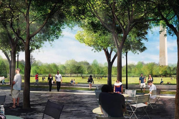 <p>Sasaki's proposal is another one with a cheery name: &quot;Reconnect + Place.&quot; It's designed to create a new public plaza and afford clear views of the city's landmarks between the White House and the Mall. It's also loaded up with security features: granite benches, planters with 3-foot-tall walls, and more.</p>