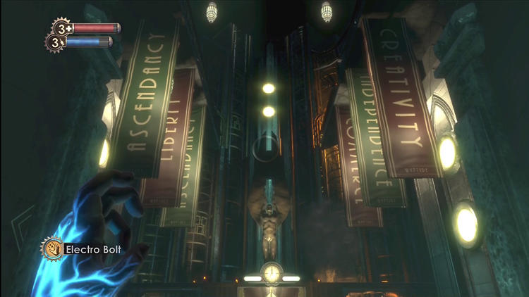 <p>Bioshock. Ken Levine, creative director and <br /> executive producer; Paul Hellquist, lead designer; <br /> Dean Tate, senior designer and artist; Scott Sinclair, <br /> art director, Microsoft XBox 360, 2007.</p>