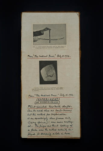 <p>Card with paper cuttings from &quot;The Medical Press.&quot; You, too, can do brain surgery! [Science Museum, London]</p>