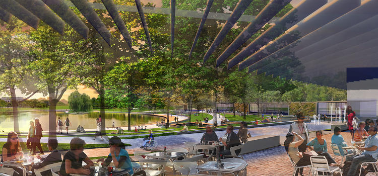 <p>Outdoor dining in the plan by Andropogon and Bohlin Cywinski Jackson for the Constitution Gardens area.</p>